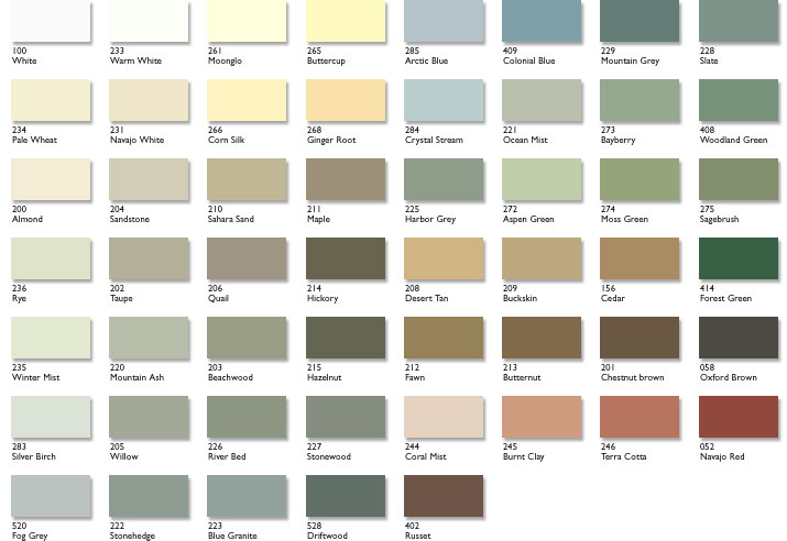 Rubbol Siding Finish  Color Options